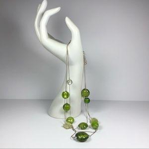 Jewelry - Green Glass Bead Multi Strand Necklace Silver Tone